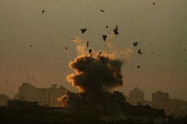 <p>[10646] 3  Debris flies up as bomb explodes after Israeli air strike in northern Gaza Strip, 3 Jan 2009.</p><p>Photo credit: Nikola Solic, © Reuters</p>