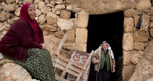 Residents of Khirbet al-Markaz in the area declared Firing Zone 918, where 12 communities face expulsion. Photo: Oren Ziv, activestills, 30.1.13