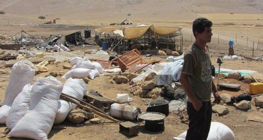 House demolitions in Khirbet Ras al-Ahmar, a community facing expulsion in the Jordan Valley. Photo: 'Atef Abu a-Rub, B'tselem, 30 July 2013